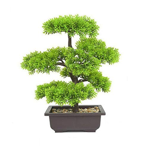 Hezhu Künstlicher Bonsai-Baum, Gefälschte Pflanzendekoration, Kunstpflanzen im Topf, Bonsai-Kiefernpflanze 33 cm für Büro/Fensterbank/Hof