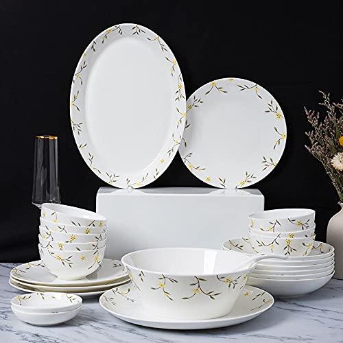 Cuenco de cerámica y platos conjuntos de platos estilo chino simple 4 personas Vajilla Creativa Cuenco de arroz y placa Palillos de 20 piezas Combo Set