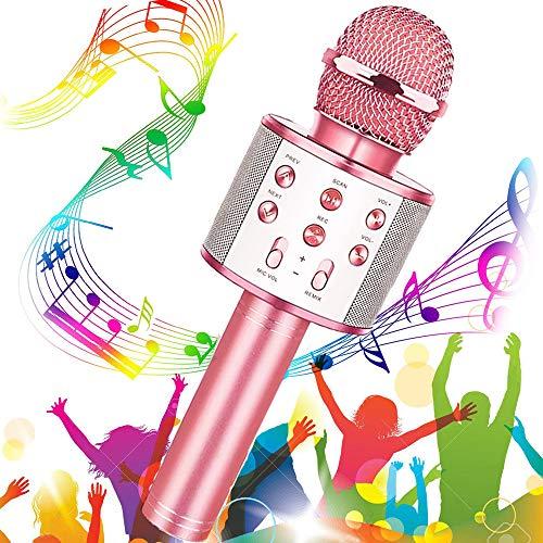 Micrófono Karaoke Bluetooth, Buty Microfono Inalámbrico Karaoke Portátil Niños Altavoces Microfono para Niños Cantar, Función de Eco, Compatible con Android/iOS o Teléfono Inteligente (Oro rosa)