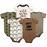 Luvable Friends Unisex Baby Cotton Bodysuits, Happy Camper, 3-6 Months
