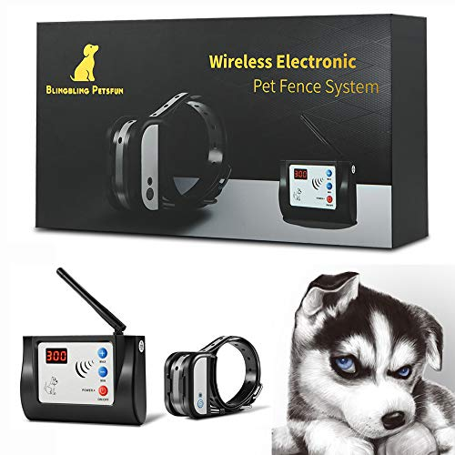 Blingbling Petsfun Electric Wireless Dog Fence System, Pet Containment System with Waterproof and Rechargeable Training Collar Receiver for 1 Dogs Pets Container Boundary (Black)