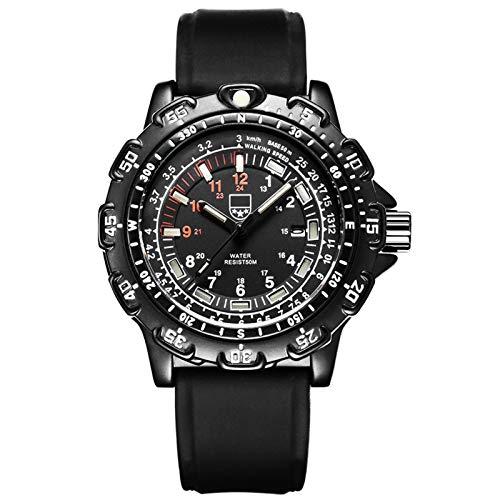 Yuui Reloj de pulsera multifunción para hombre, de cuarzo, luminoso, resistente al agua, con correa de silicona