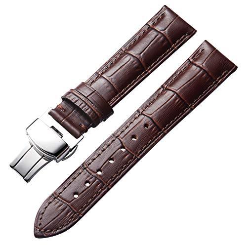 Bandas de Reloj de Cuero Genuino Correa de cocodrilo de Repuesto para Hombres Mujeres con Hebilla de despliegue de Plata Mariposa12mm 13mm 14mm 16mm 17mm 18mm 19mm 20mm 21mm 22mm 23mm 24mm Marrón