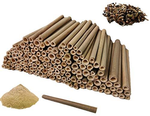aktiongruen MEGA Pack Bambusröhrchen Insektenhotel Bastelsachen 200 Niströhren 17cm mit 300 g Lehmpulver!