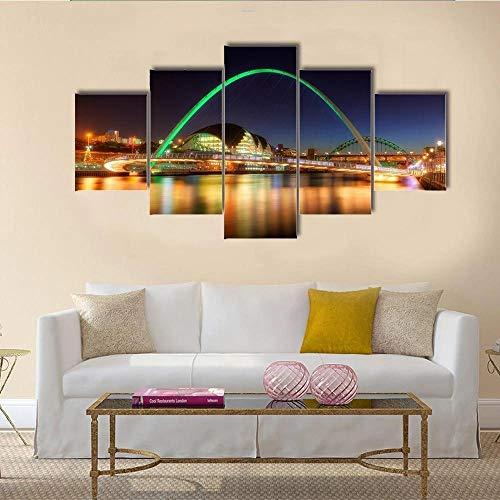 JJJKK Bilder Kunstdrucke - 5 Teilige Wandbilder - Gateshead Millennium Bridge - Leinwand Bild Schlafzimmer - 5 Stück Wandkunst Moderne Dekoration Leinwand Poster