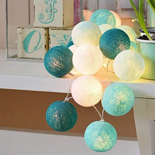 Luces decoración de Habitación con Forma de Bolas de Lana, Luces Led Iluminación de Interior que Funciona con Pilas o Enchufe USB(20 Bolas de 60 mm, Azul Tiffany)