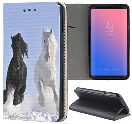 Huawei P8 Lite 2017 Hülle Premium Smart Einseitig Flipcover Hülle P8 Lite 2017 Flip Case Handyhülle Huawei P8 Lite 2017 Motiv (509 Pferd Pferde Schwarz Weiß im Schnee)