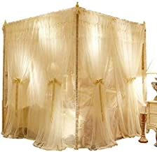 "Ivory 86"" W*78"" L*82"" H, 4 Corners Post Canopy Bed Curtain for Girls Boys & AdultsǁPrincess Bedroom DecorationǁRoyal Luxurious Cozy Drape NettingǁCute Princess Bedroom Decoration"