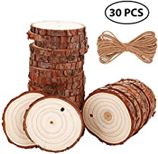 YCDYX Natural Wood Slices 30Pcs 2.0-2.4 inch(0.4inch Thick) Craft Wood kit Unfinished Wood Slices with Hole & Smooth Surface Wood Circles Perfect Handmade DIY Crafts and Halloween Christmas Ornaments