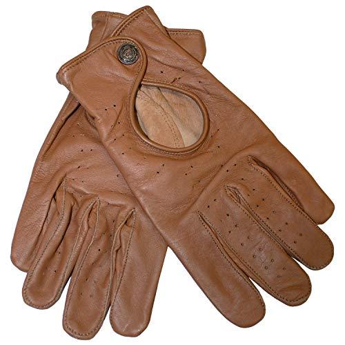 German Wear Driving Autofahrer-Handschuhe Lederhandschuhe, Größe:8=M, Farbe:Karamell