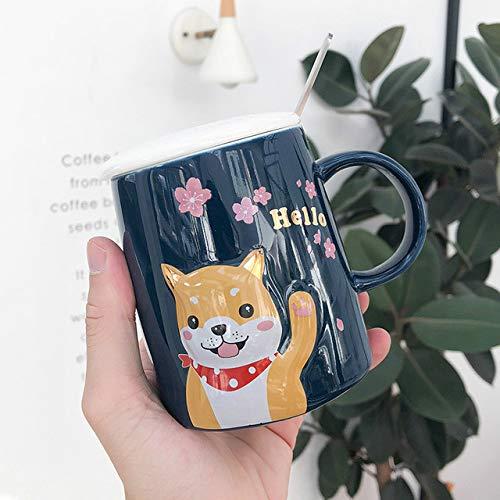Pollepel dekking koffie cartoon kopje tekening hond water om een paar glazen melk drinken voor kopjes koffie met citroen beste cadeaus voor ouders,02