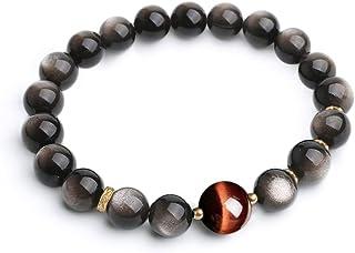L&C Beaded Bracelets for Women Mens Protection - 8MM 10MM Obsidian Red Tiger Eye Stretch Feng Shui Black Obsidian Wealth B...