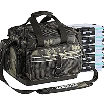 Fishing Tackle Bag Tackle Box Large Fishing Bag with 5 Trays Water Resistant Fishing Gear Storage Bag with Rod Holder Standard Multicam Black Trays