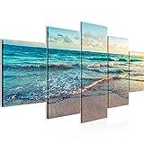 Playa decoración de la pared mesa y Mar - 200 x 100 cm Vista de impresión en lienzo Salón Apartamento - listo para colgar - 015551a