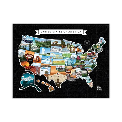 See Many Places Scratch Off Map of the United States - 20x16in Frameable Black Travel Map with...