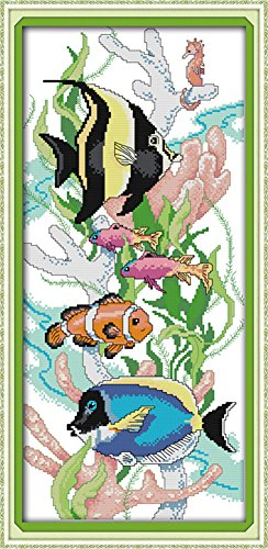 CaptainCrafts Hots Cross Stitch Kits Patterns Embroidery Kit - Tropical Fish (Stamped)