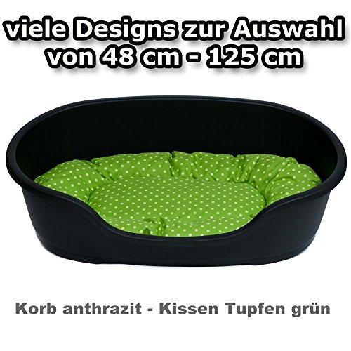 adena Hundekorb 110 x 74 cm anthrazit + Kissen Tupfen grün