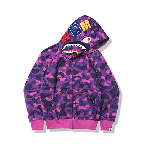 Bape Kapuzen-Sweatshirt, Kapuzenpullover, Herren und Damen Universeller Hoodie, Jugendliche Erwachsene Pullover Full Zip Jacke, Lila, Größe S