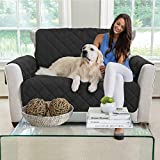 MIGHTY MONKEY Premium Reversible Chair Protector for Seat Width up to 48 Inch, Furniture Slipcover, 2 Inch Strap, Chairs Slip Cover Throw for Pets, Dogs, Cats, Armchair, Black Gray