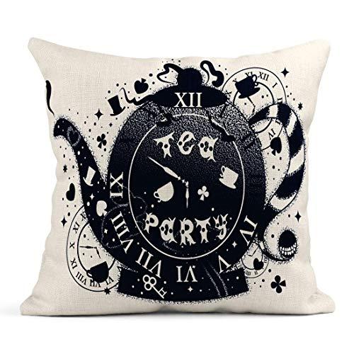 Dekokissen Alice Tea Party Vintage Teekanne Motive Tattoo und Doppelbelichtung Schriftzug Satz Wunderland Leinen Kissen Home Dekorative Kissen