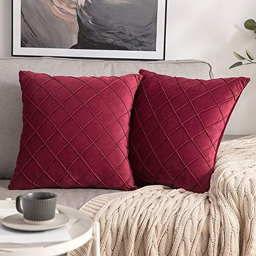 MIULEE 2 Piezas Funda de Cojines Terciopelo Suave Color Sólido Funda de Almohada con Cremallera Oculta Moderna Duradera Decorativa para Habitacion Sofá Dormitorio Sala de Estar 45x45cm Vino Rojo