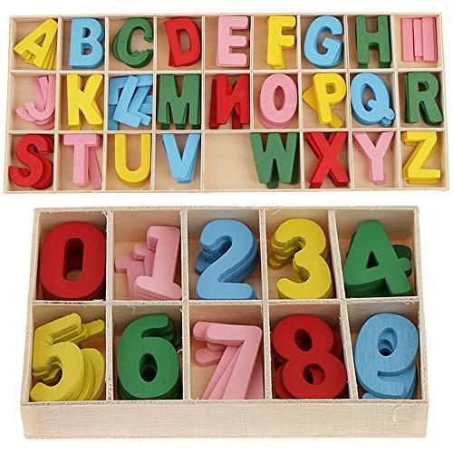216 Stück bunt Holzbuchstaben und Nummern Holzbuchstaben Großbuchstaben Kid Holzspielzeug Lernspielzeug Buchstaben- und Zahlen-Puzzle-Brett Glattes Naturholz bunt für Kunsthandwerk DIY Kleinkind