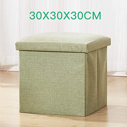 Caja de almacenamiento creativa para sofá, silla, reposapiés, taburete plegable, multifuncional, almacenamiento en el hogar, pequeño taburete de almacenamiento, Verde, Small