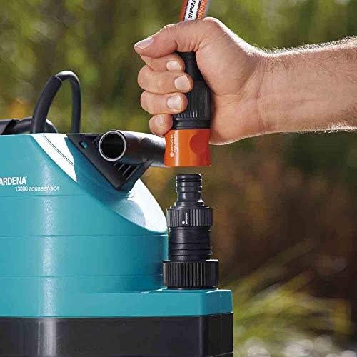 GARDENA 01799-61 Schmutzwasser-Tauchpumpe 13000 aquasens, 680 W, türkis, schwarz, Orange