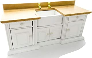 Melody Jane Casa Muñecas Blanco y Roble Claro Unidad de Fregadero con Belfast Fregadero 1:12 Muebles de Cocina