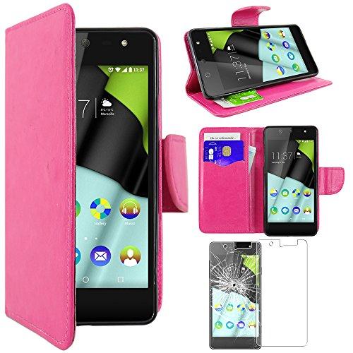ebestStar - kompatibel mit Wiko Selfy 4G Hülle Kunstleder Wallet Case Handyhülle [PU Leder], Kartenfächern, Standfunktion, Pink + Panzerglas Schutzfolie [: 141 x 68.4 x 7.7mm, 4.8'']