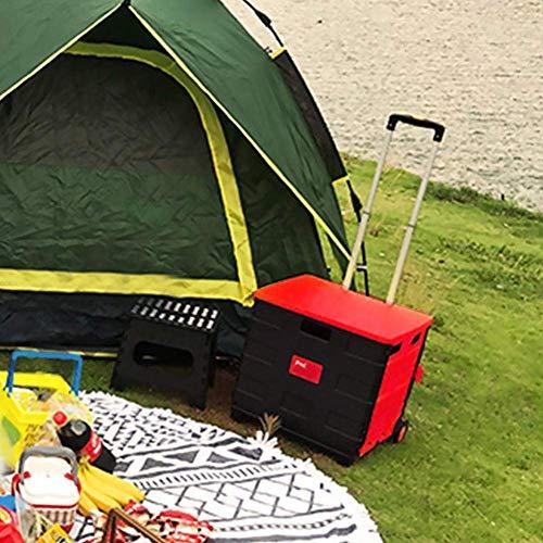 CENPEN Storagc Carretilla de la compra plegable portátil con ruedas, carro ligero para escalar, bolsa extraíble impermeable con cubierta para compras o pesca, 38 x 36 x 33 cm