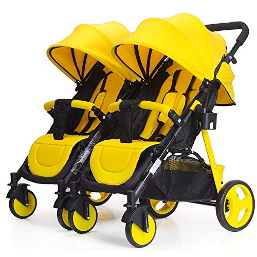Poussetter Yhz@ Double Amovible Le Chariot Double Ready2grow Amovible Peut s'asseoir et s'allonger (Couleur : Le Jaune)