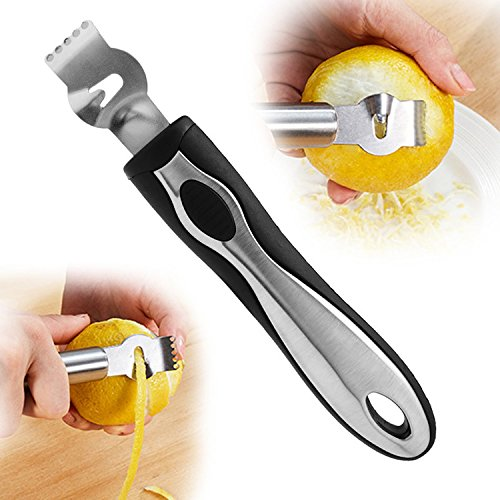 Yunhigh Zesteur de citron en acier inoxydable avec couteau à canal multifonctionnel à main Éplucheur de fruits Orange Outils de cuisine Accessoires gadgets - Noir argenté