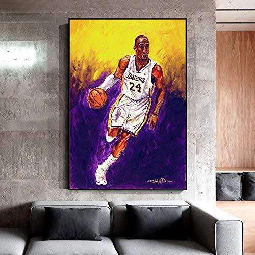 UIOLK Pintura de Lienzo HD Gran Jugador de Baloncesto Kobe Bryant Forever Black Mamba Poster decoración Aniversario cumpleaños