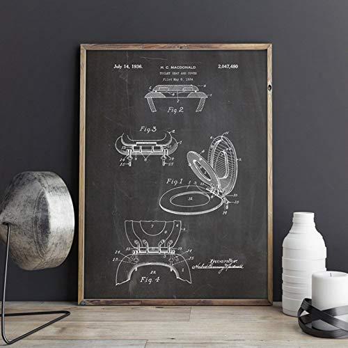 GUDOJK wandschilderij toiletbril poster prints toilet muurkunst canvas schilderij afbeelding badkamer wooncultuur 40x60cm(16x24inch)