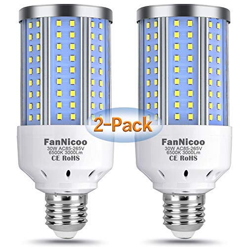 2-Pack 200W Equivalent LED Corn Light Bulb, 3000 Lumen 6500K Cool White Daylight 30W LED Corn Lamp E26/E27 Medium Base for Indoor Outdoor Warehouse Garage Basement Backyard Factory Barn and Many Areas