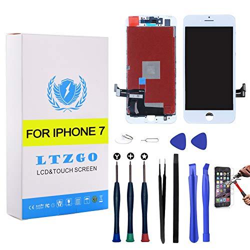 LTZGO Pantalla Táctil Compatible con iPhone 7 LCD Display Reemplazo Blanco Digitalizador Táctil Vidrio con Herramientas, Adhesivo,Cristal Templado A1660, A1778, A1779
