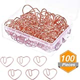 100 Pieces 3 cm Love Heart Shaped Small Paper Clips Bookmark Clips for Office School Home (Rose Gold)
