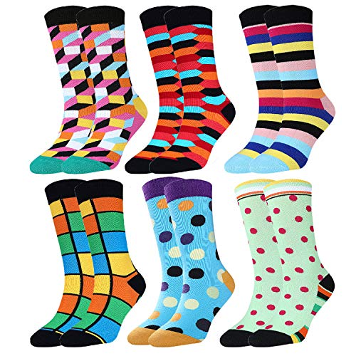 Jielucix Bunte Socken Damen Lustige Baumwolle Farbige Anzugsocken für Frauen 39-42 (6 paare Bunte C, 6)