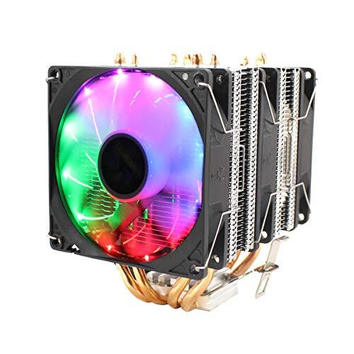 CPU silencioso refrigerante 3 ventilador con RGB colorido control de temperatura inteligente Radiador de control de temperatura para Intel 775/1150/1151/115 U8Z6 4 Cables del tubo de calor 3 Hudson St