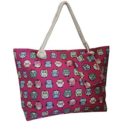 FERETI Bolsa Con Búho Viaje Playa Rosa Bebé Para Compras Con Búhos Tela Cuerda Shopper