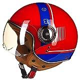 qwert Casco abierto para motocicleta, aprobado por DOT, unisex, para adultos, retro, para motocicleta, para Cruiser Chopper, ciclomotor, scooter 3/4, medio casco (54 ~ 60 cm)