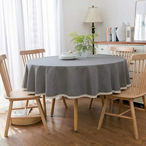 YOUYUANF tablecloth wipe clean round Linen look round tablecloth160cm