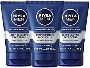 Nivea Men Maximum Hydration Deep Cleaning Face Scrub - Cleans without drying, contains Pro-vitamins - 4.4 oz Tube, Pack of 3