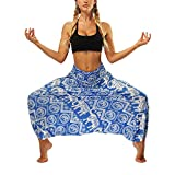 Women's Hippie Low Crotch Harem Pants Bohemian Beach Yoga Trousers Baggy Aladin Bloomers i-one Size