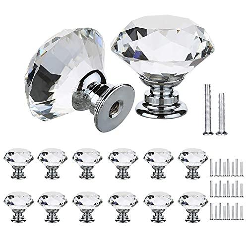 12 Pcs Pomos y Tiradores Cristal, Tiradores para Cajones con 2 Tornillos de Tamaño, Pomos y Tiradores de Muebles, Manijas de Puertas para Tocador, Cocina, Armarios, Gabinetes (30mm)