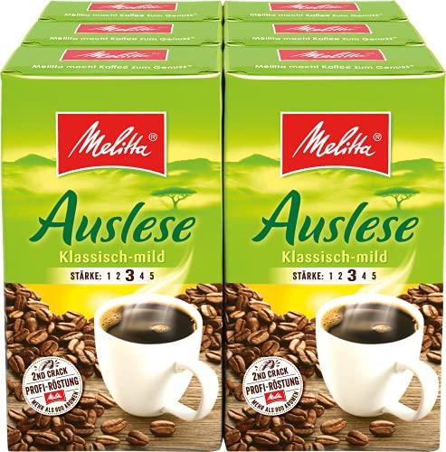 Melitta Gemahlener Röstkaffee, Filterkaffee, vollmundig und mild, Stärke 3, Auslese Klassisch Mild, 6er Pack (6 x 500 g)