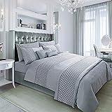AMSKA INTERNATIONAL Duvet Cover Bedding Set Pinsonic Quilted Silver Grey Quilt Linen (9121) (King)