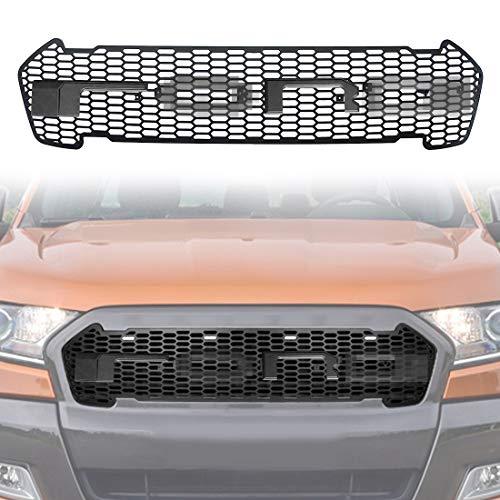 CStern LED Raptor Stijl Buitenste Radiator Racing Grill Grille met Zwarte Letters voor Ford Ranger T7 2015-2018 ABS Bumper Mesh Masker Trim Cover