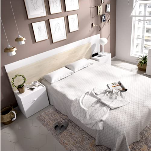 HABITMOBEL Conjunto cabecero + 2 mesitas con Dos cajones Marie en Blanco Brillo y Natural